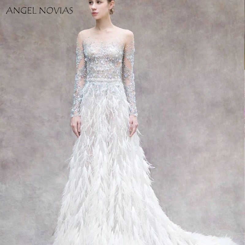 83ebfa804a ANGEL NOVIAS Long Sleeve Crystals Woman Evening Dress 2018 with Feather  Formal Elegant Party Gown abendkleider