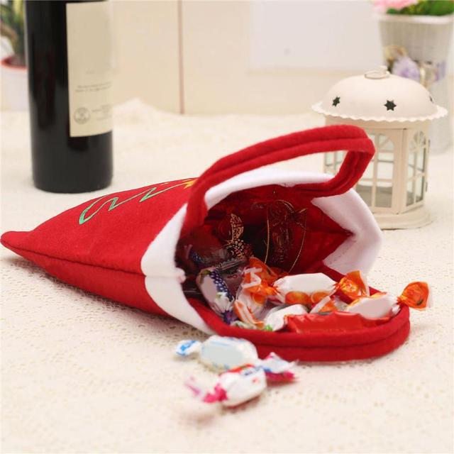 5 Pcs Merry Christmas Red Candy Bag Tree Print Pouch Home Party Decor Gift 1
