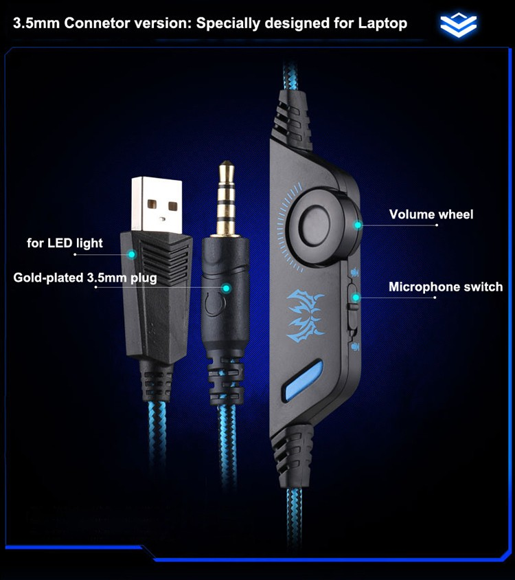 KOTION EACH G9000 3.5mm Game Gaming Headphone Headset Earphone With Microphone LED Light For Laptop Tablet Mobile Phones Xbox ONEPS4 (9)