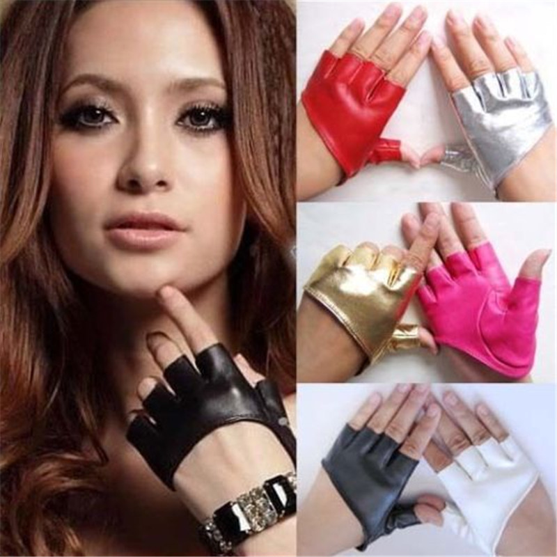 LADIES LEATHER PURPLE PIPING FINGERLESS GLOVES