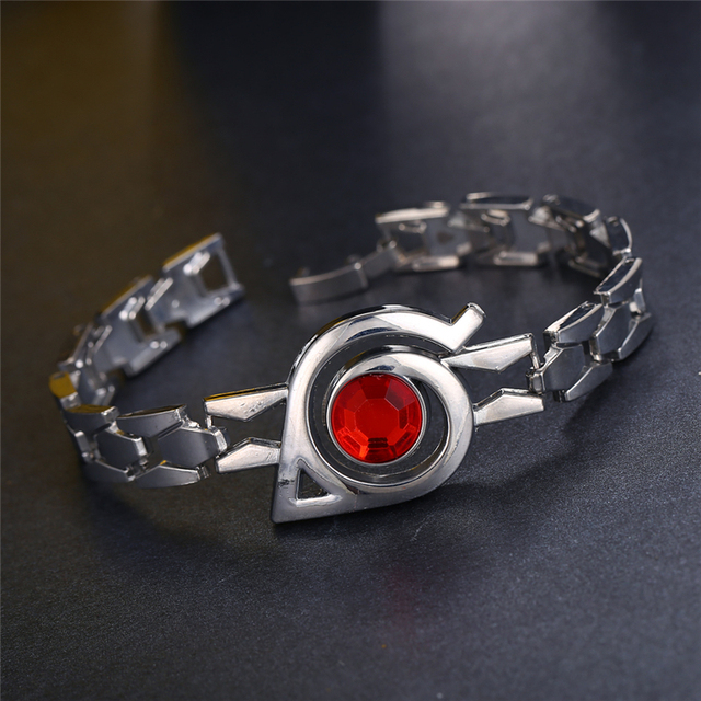 Naruto Sharingan Red Crystal Stainless Steel Chain Rhinestone Bracelet Jewelry For Women Hot Anime Bangle