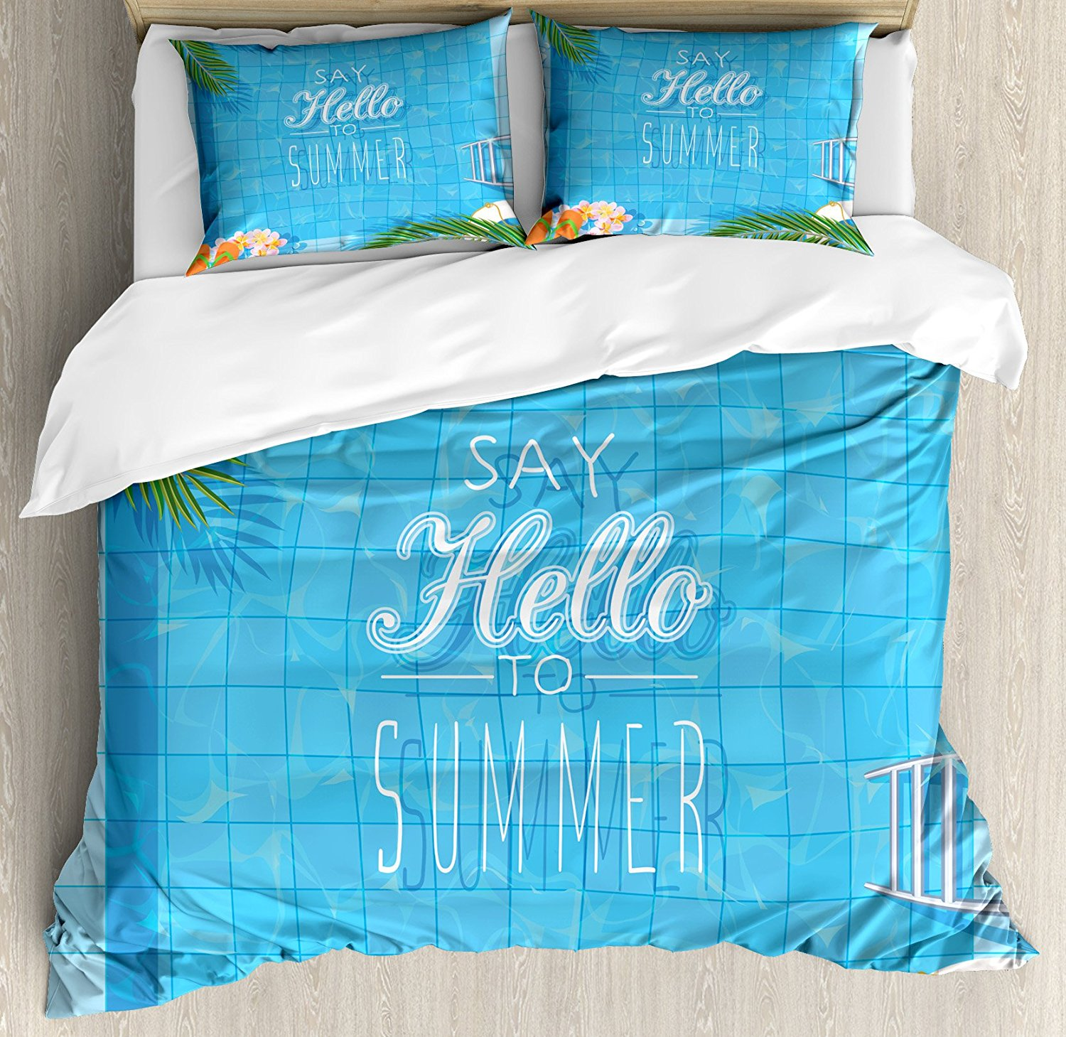 Quote Duvet Cover Set Say Hello To The Summer Slogan On A Pool With Ladder Flip Flops And Flowers Design Decor 4pcs Bedding Set Curing Cough And Facilitating Expectoration And Relieving Hoarseness Home Textile Bedding Sets