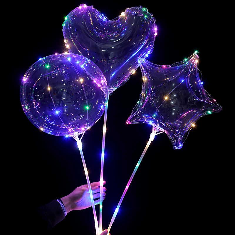10 個ツリースターハート Led バルーンライト透明グロボス led バルーン誕生日パーティーの装飾ヘリウム風船の装飾