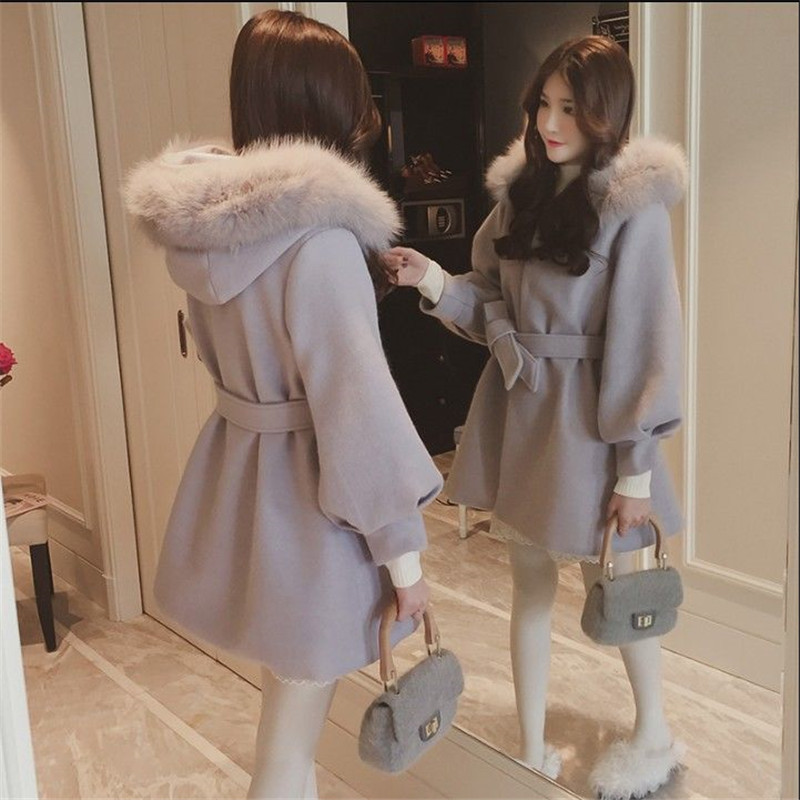 2019 Female long cotton solid coat A line V neck pockets sashes full sleeve autumn and