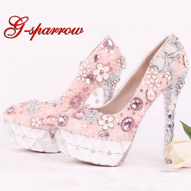 2018 Rhinestone Pink Flower Bridal Dress Shoes Gorgeous Crystal Heel  Platforms Wedding Ceremony Party Shoes Luxury b9e663336334