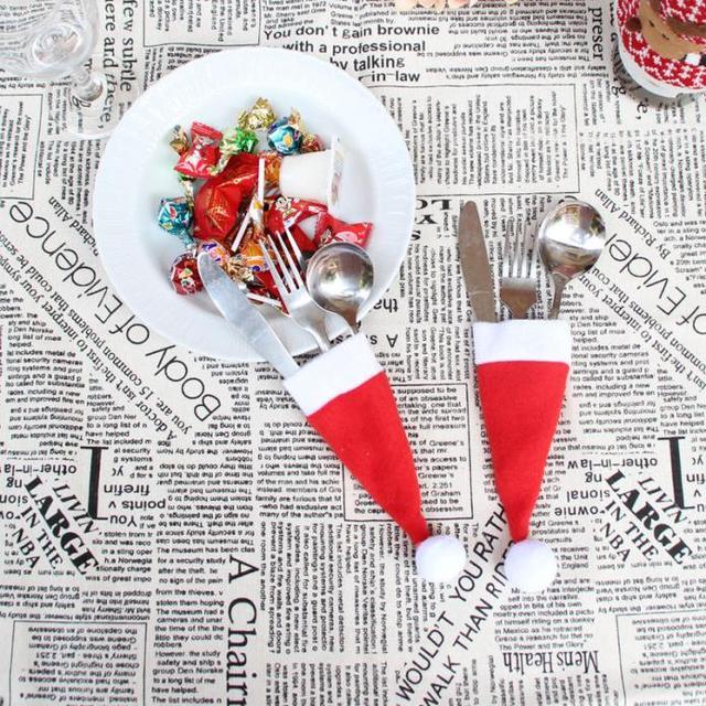 Gorąca Sprzedaż 2018 1 pc Boże Narodzenie Dekoracyjne stołowe Nóż Widelec Zestaw Piękne Boże Narodzenie Kapelusz Przechowywanie Narzędzi enfeites de natal Prezent 1 pc - aliexpress