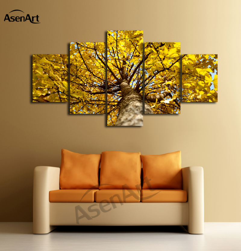 5 Panels Attractive Golden Ginkgo Tree Canvas Oil Printing Modern ...