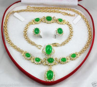FREE SHIPPING>>@> women's jewelry green jade yellow gold Earring Bracelet Necklace Ring Natural jewelry