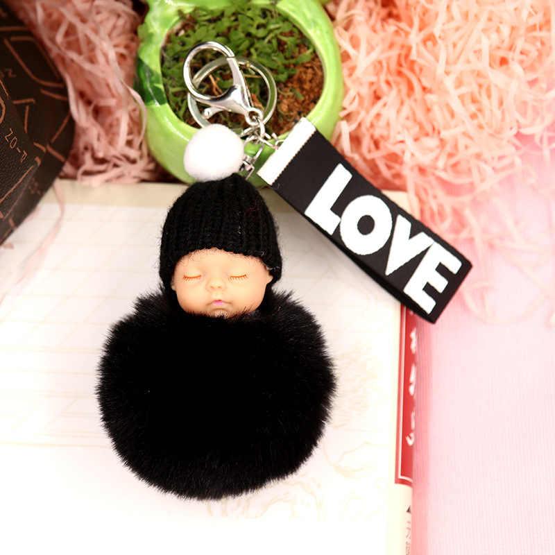 Pele De Coelho Bola Pompom bonito Dormir Baby Doll Pom Pom Keychain Da Corrente Chave Do Carro Chaveiro Saco Titular Mulheres Pingente Charme porte Clef