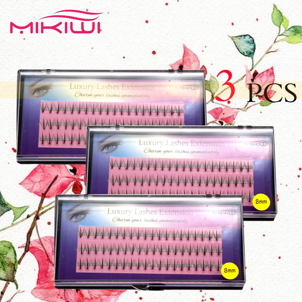 Wholesale 3 pcs soft 100% hand made Mikiwi top selling natural Ellipse Flat lash extensions 3D mink lashes
