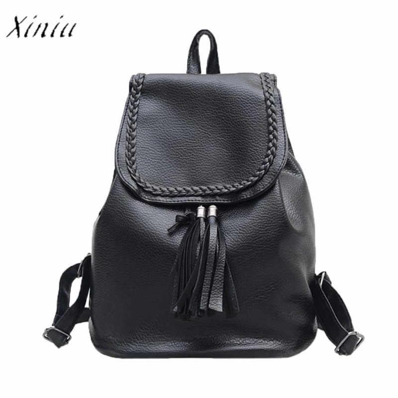 645bb4fefcd3 Винтаж кисточкой Для женщин рюкзаки плетения для девочек школьная сумка  Мягкий Рюкзак мешок модные женские туфли