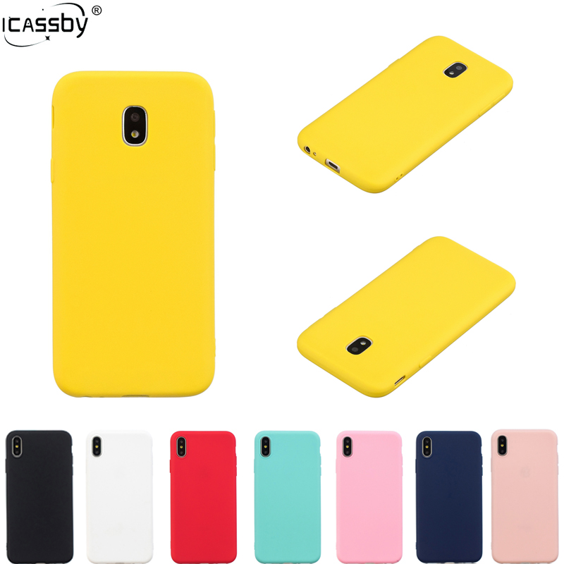 Galleria fotografica Rubber Silicon Back Cover For Samsung Galaxy J3 J5 J7 2017 Case Candy Color Soft TPU Back Cover For Samsung J3 J5 J7 Pro Case
