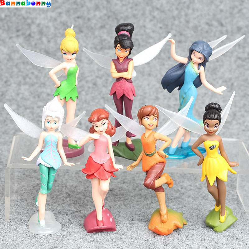 7 Pcs//Set TinkerBell Tinker Bell Fairy Action Stand Action Figures For Kids Toys