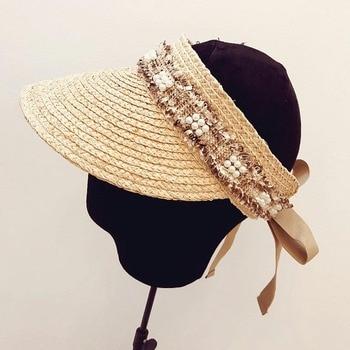 Sombrero de visera japonés coreano con flor sombrero con protección UV para mujeres visera sombreros de paja rafia visera gorras de playa