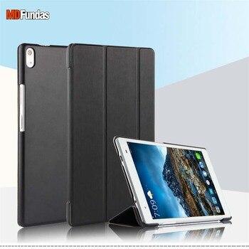 MDFUNDAS Tri-plegable Flip Funda de cuero para Lenovo Tab 4 8 Plus TB-8704F 8704N 8704X cubierta de la bolsa Teléfono de Lenovo Tab4 8 Plus + película
