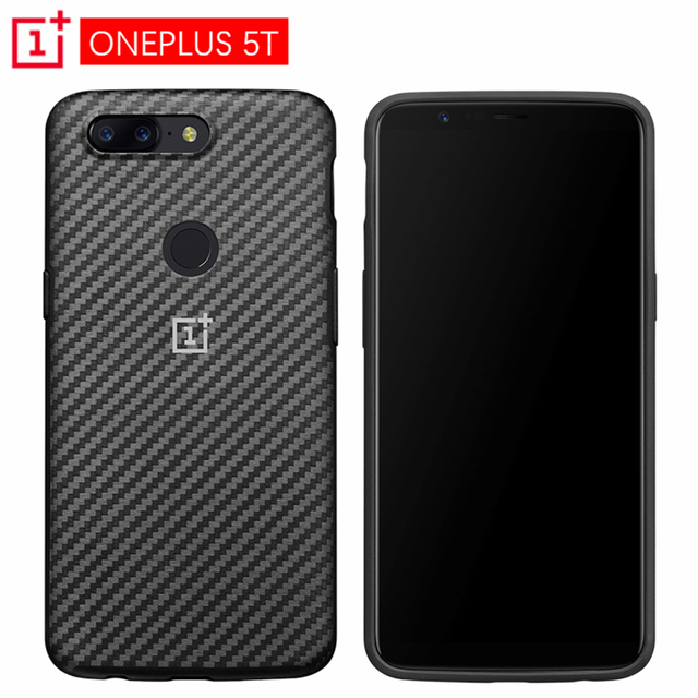 newest c85c0 8dfe9 US $38.07 20% OFF|Official OnePlus 5T Bumper Case Karbon+ Tempered Glass  Kevlar Soft TPU Case Original One Plus 5T Protective Shield Carbon Fiber-in  ...