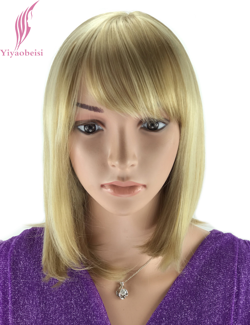 Yiyaobess 30cm Highlights Blonde Ombre Wig For Women Heat Resistant Synthetic African American Medium Bob Wigs With Bangs