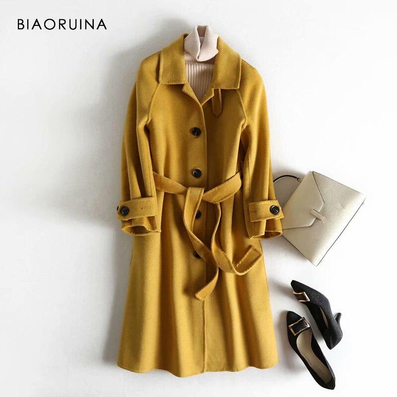 BIAORUINA femmes 5 couleurs 100% laine simple boutonnage mode Long manteau bureau dame Chic Style coréen manteau de laine avec des ceintures