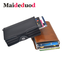 Genuine Leather Automatic Credit Card Holder Men High Quality Aluminum Business Credit Card Multi-function Card Holder Wallet a3 multi function automatic business card cutter