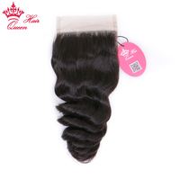 Indian Loose Wave Wave Lace Closure 4*4 Free Part 100% Natural Color Remy Human Hair Top Closure Queen Hair Products
