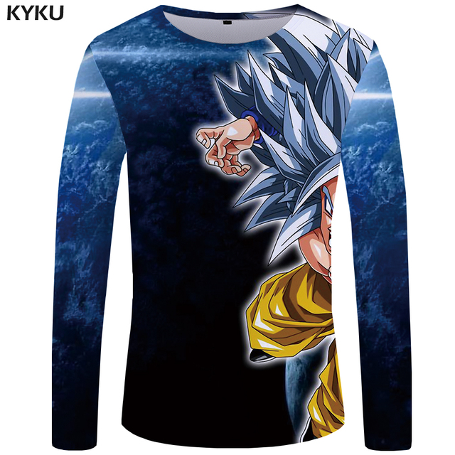 bbb3bc23 KYKU Brand Dragon Ball Z T shirt Men Long sleeve shirt Goku Funny T shirts  Silver Hair Clothes Starry Sky Mens Clothing Muscle