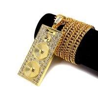 NYUK 2016 שרשרת ארוכה שרשרת זהב תכשיטי היפ הופ תחפושת צורת רמקול עיצוב שרשרת זהב חדש לגברים נשים ומתנות