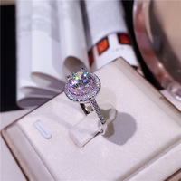 Women Wedding Ring Set Sparkling Perfect Round Cut Zircon Stone Rings Female Party Jewelry 2 Color Silverπnk