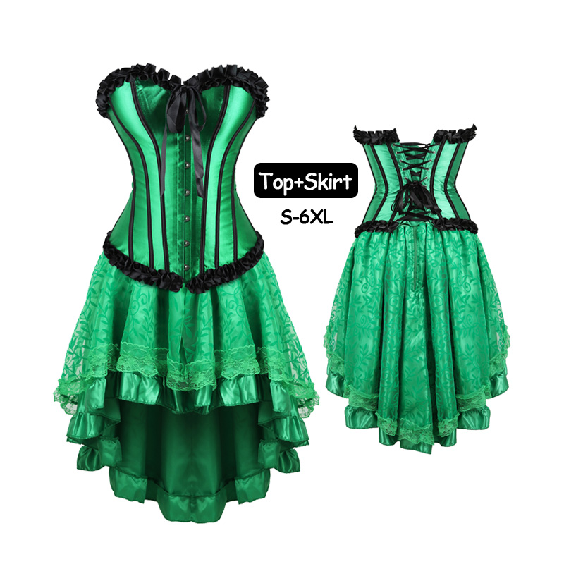 Plus Size Corset Dress Set For Women Club Wear Lace Stripe Burlesque Mini Skirt Cosplay Costume Sexy Green gowns Bustier tops