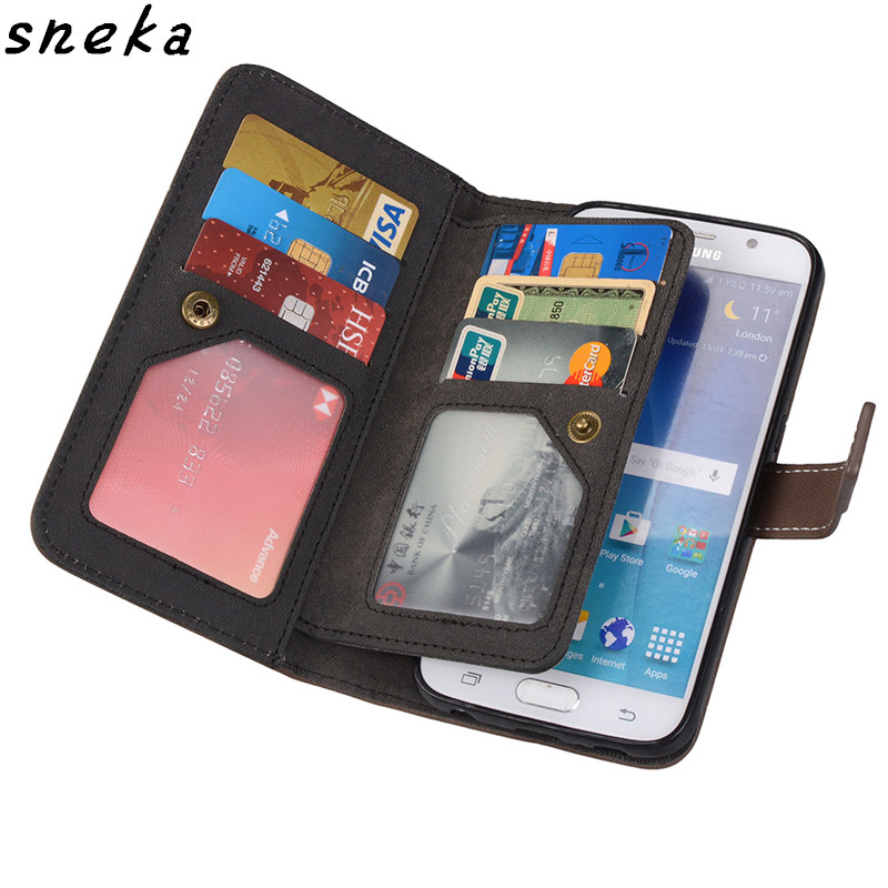SFor Samsung Galaxy A3 A5 A7 2017 Case Luxury Leather Multifunction Nine Cards Wallet Flip Stent