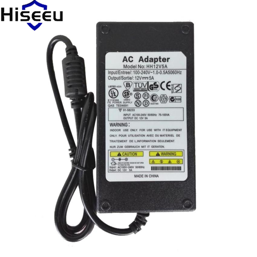 Hiseeu Charger Adaptor For IP Camera High Quality Universial AC For DC 12V 5A 60W Power Supply For CCTV Camera Dropshipping угловая шлифмашина bosch gws 850 125 ce 0601378792