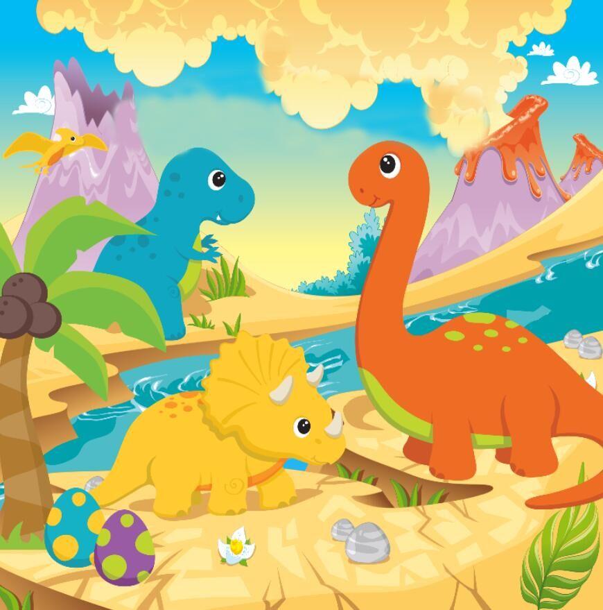 8x8ft Cartoon Volcanol Mountain Good Dinosaurs Safari