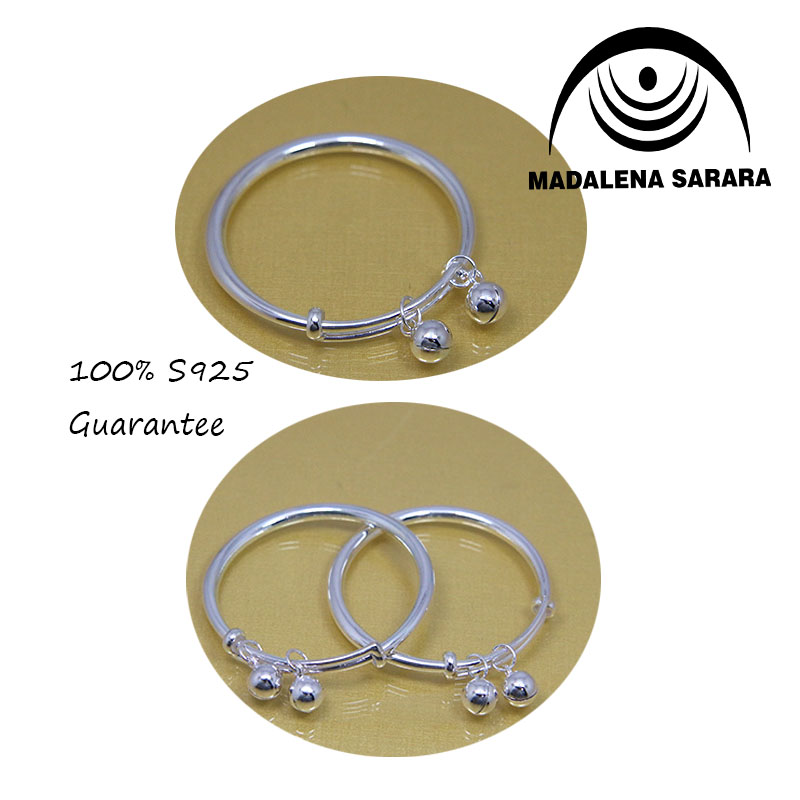 MADALENA SARARA Baby Sterlings Silver 999 Bracelet Bangle For Birth Gift 1 pair 100 Quality Guarantee in Bangles from Jewelry Accessories