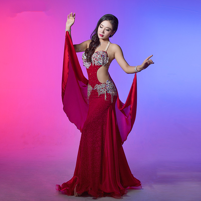 Bellydance oriental Belly baladi Indian eastern Egyptian hair swinging dance dancing costumes bra belt skirt dress robe set 2598