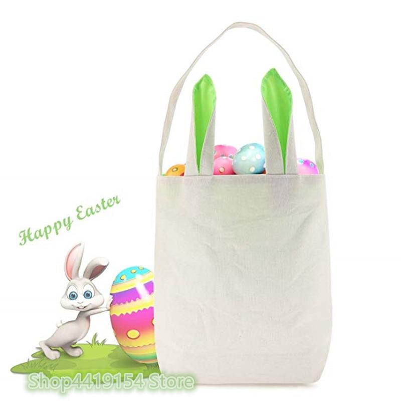 50pcs lot Easter Bunny Rabbit Tote Bag Monogram Easter Basket Bucket Happy Easter Decorations For Home