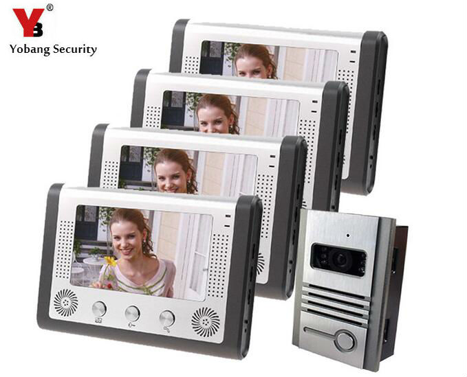 Yobang Security Apartment Intercom Entry System 7 Inch LCD Monitor Video Door Camera 4 Wire Video Door Phone