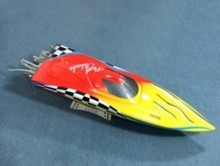 1106 Raider/Rocket Racing Electric Brushless RC Boat Fiberglass — yellow & red with 3660 1620KV Motor 125A ESC