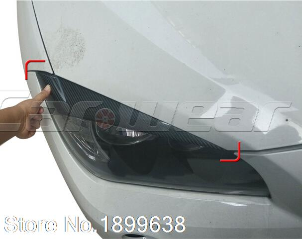 High Quality Carbon Fiber Front Headlight Cover Eyelid Eyebrow for BMW X1 2012 2013 2014 2015