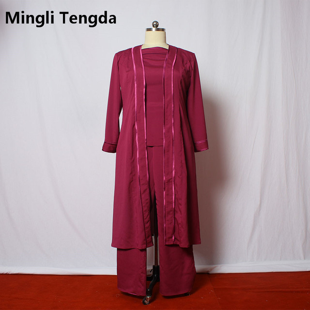 Custom Made Mother of the Bride Pant Suits With Long Jacket Plus ...
