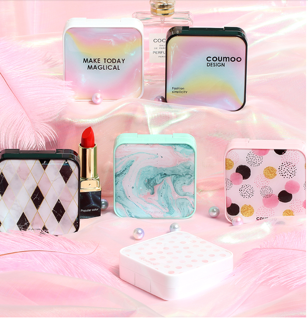 INS 1 Pcs Travel Portable Plastic Contact Lens Case Wavy Dot Square  Container Holder Lenses Eye lashes Storage Box Make up Tool
