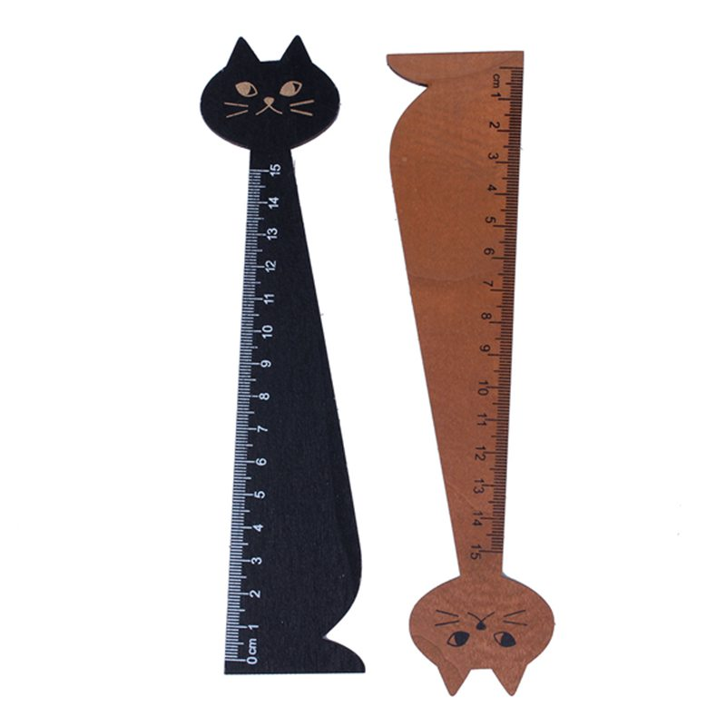2 Pcs 15 Cm Wood Straight Ruler Beautiful Cat Form Ruler For Kids School (Black, Yellow)