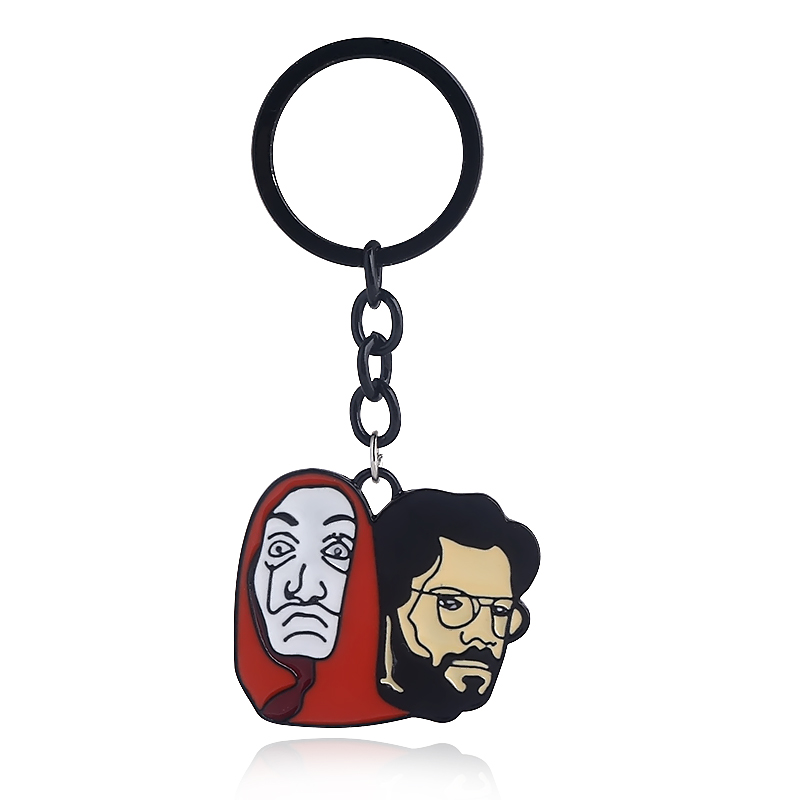 Spain TV Series LA CASA DE PAPEL Keychains Money Heist The House of Paper Keyring Salvador Dali figure Funny Choker Men Jewelry image