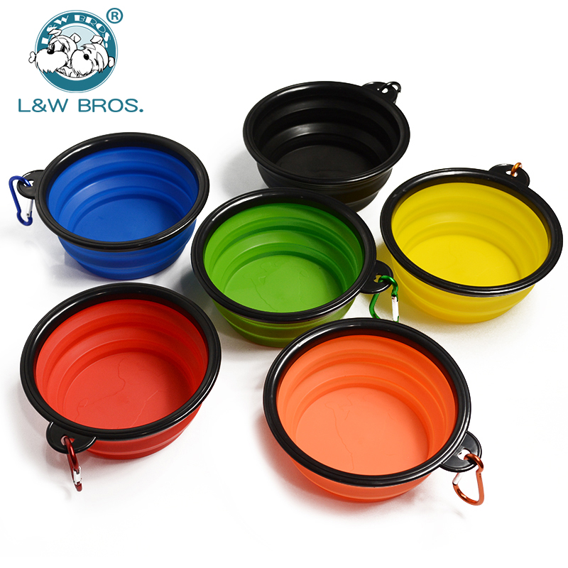 Foldable Silicone Dog Bowl With Hang Buckle Water Bowl For Dog Travel Collapsible Puppy Feeding Dishes Dog Food Container