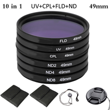 цена на 49mm Polarizing Fluorescent Neutral Density UV+CPL+FLD+ND Photography Filter Kit Set for Nikon Canon Sony Pentax DSLRs