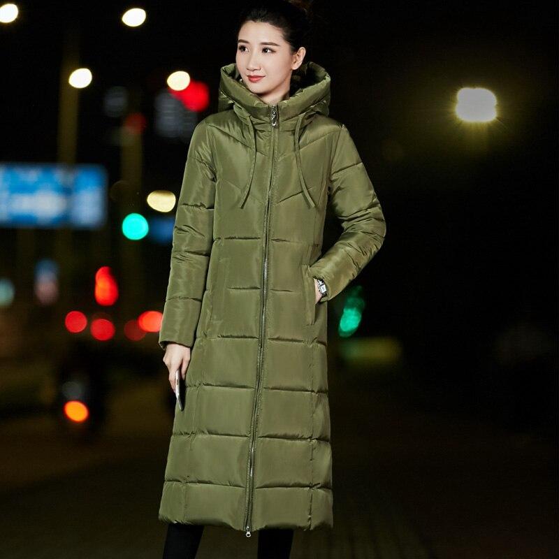 2018 Women X long Wateproof Windproof Sintepon winter basic style Solid Slim hooded jacket coat ZLC015