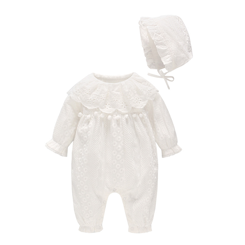Vlinder 2018 New Cute Baby Girls Rompers Newborn  Button Clothes With Hat Infant Jumpsuit Pure Cotton Snug Long Sleeves Pajamas