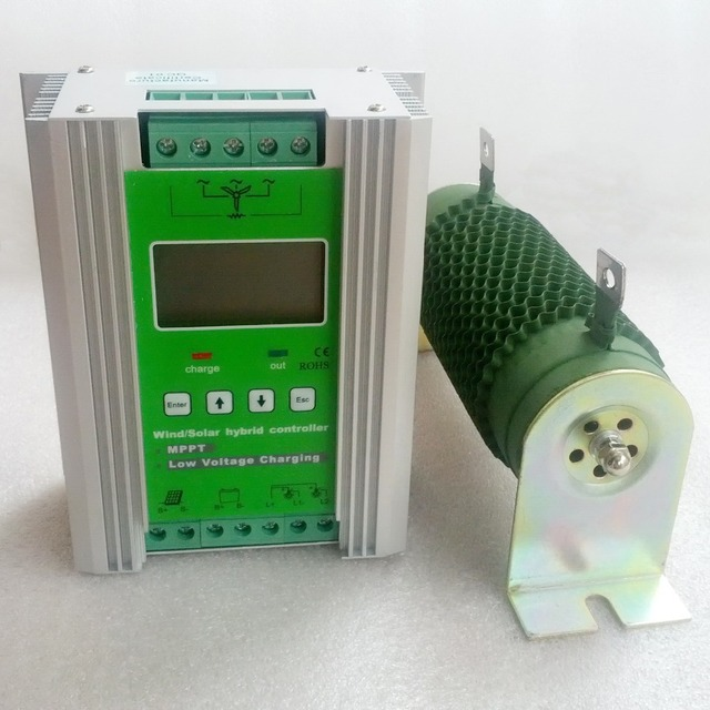 1400W MPPT Wind Solar Hybrid Boost Charge Controller 12V 24V apply for 800W 600W wind turbine generator + 600W 400W solar panel