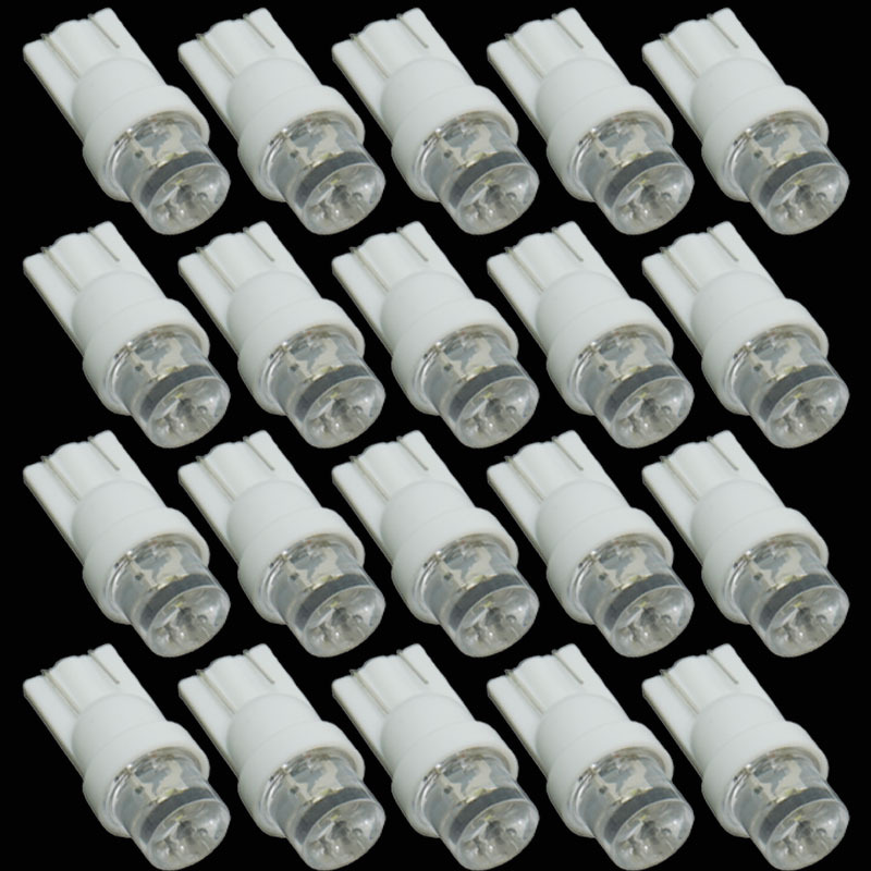 CQD-Light 20pcs T10 1 LED Car Indicator Light Bulbs Wedge Lamp T10 1LED Concave 12V White Parking signal