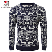 John S Bakery Brand 2017 New Fashion Autumn Casual Sweater O Neck Christmas Elk Slim Fit