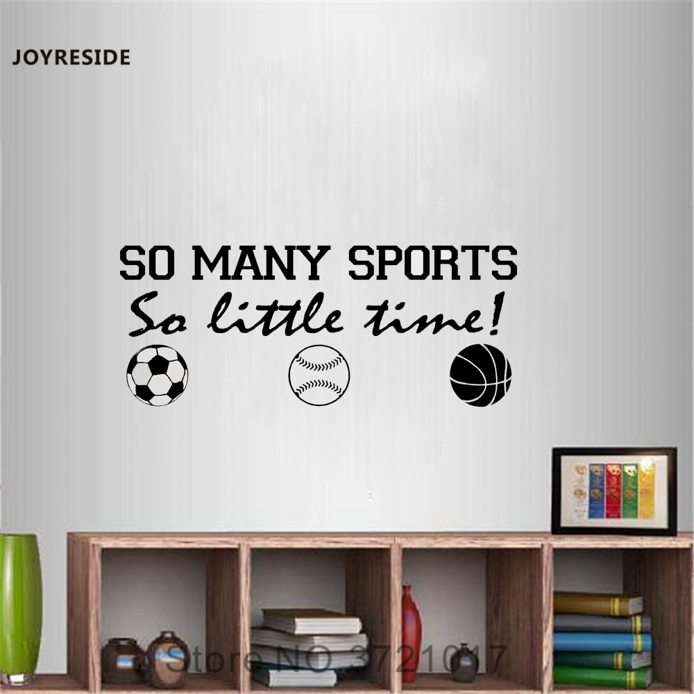 JOYRESIDE So Many Sports So Little Time Sports Quote Wall Decal Vinyl Sticker Playroom Living Room Interior Art Decoration A052