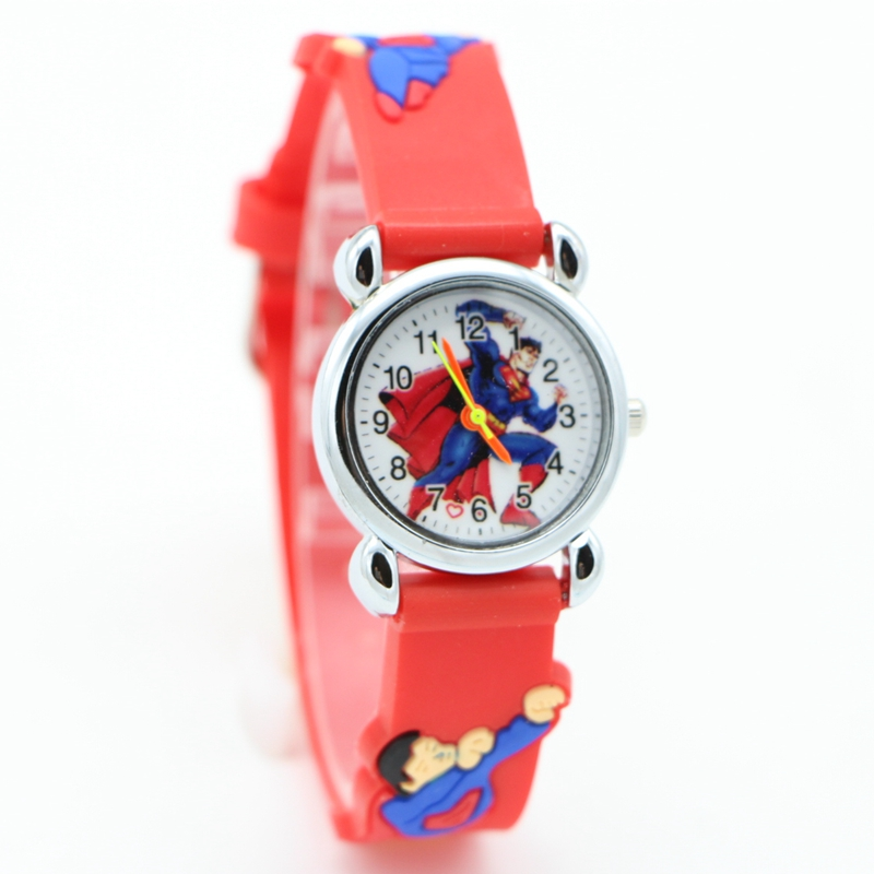 New 3D Cartoon Superman Super Man Kids Watch Children Girls Boys Students Quartz Wristwatches Relojes Montres Kol Saati